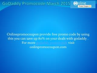 GoDaddy Promocode March 2015