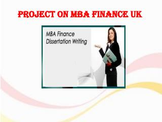 Project on MBA Finance UK