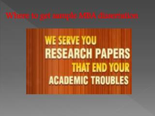 Where to get sample mba dissertation