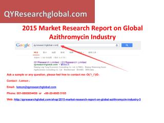 Global Azithromycin Industry 2015 Market Research Report
