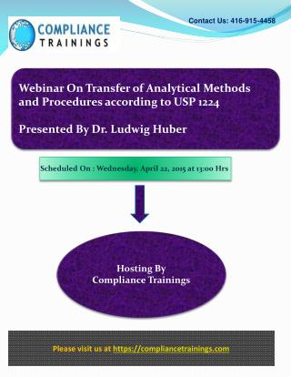 Webinar On Transfer of Analytical Methods and Procedures acc