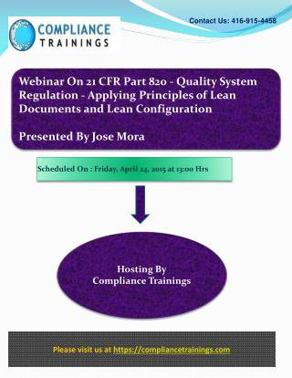Webinar On 21 CFR Part 820 - Quality System Regulation