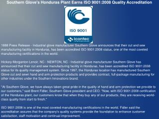 Southern Glove's Honduras Plant Earns ISO 9001:2008 Quality