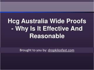Hcg Australia Wide Proofs - Why Is It Effective And Reasonab