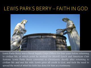 LEWIS PARKS BERRY – FAITH IN GOD