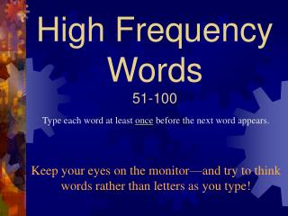 High Frequency Words 51-100