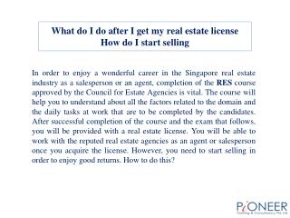 What do I do after I get my real estate license How do I sta
