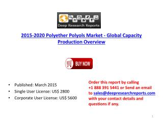 Global Polyether Polyols Industry Size and Landscape Overvie