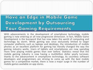 Have an Edge in Mobile Game Development by Outsourcing Your