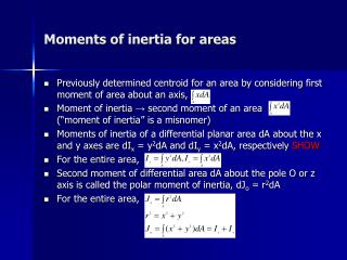 Moments of inertia for areas