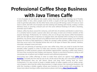 Coffee Franchise Business with Java Times Caffe