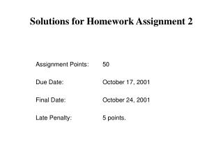 Solutions for Homework Assignment 2