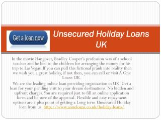 Unsecured Holiday Loans