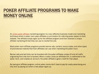 Poker Affiliate Programs to Make Money Online