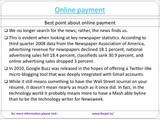 Quintessential Information about online payment