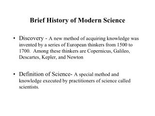 Brief History of Modern Science