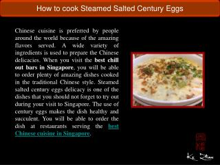 How to cook Steamed Salted Century Eggs