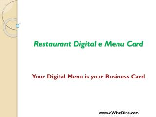 eWineDine | Digital eMenu Card for Restaurant