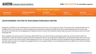 AUSTIN REPAIRERS: THE STATE OF YOUR GARAGE DOOR REALLY MATTE