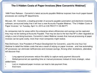 The 5 Hidden Costs of Paper Invoices [New Corcentric Webinar