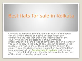 Best flats for sale in Kolkata