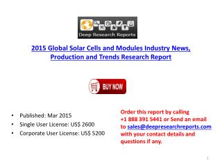 Solar Cells and Modules Industry-Global Developments Status