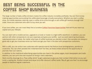 Best  Being  Successful  In  The  Coffee  Shop Business