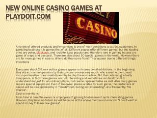 New Online Casino Games at Playdoit.com