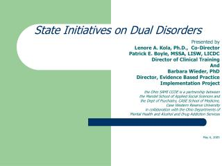 State Initiatives on Dual Disorders