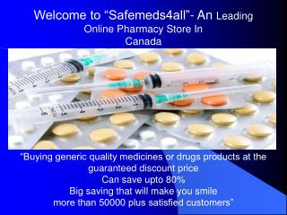 Buy Cheap Generic Drugs Online From Safemeds4all
