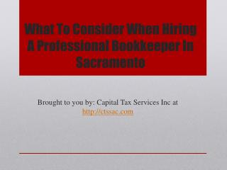 What To Consider When Hiring A Professional Bookkeeper