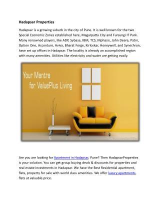 Buy Luxury apartments in Hadapsar | Hadapsarproperties