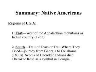 Summary: Native Americans