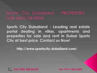 Sports City Dubai - Property, Apartments for Rent & Sale