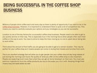 Being Successful in the Coffee Shop Business