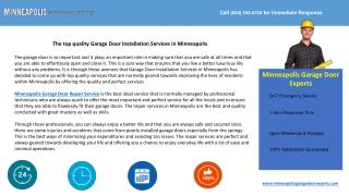 The Top Quality Garage Door Installation Services Minneapoli