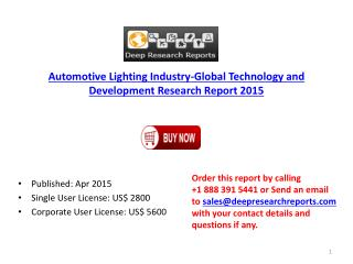 Global Automotive Lighting Industry Overview by Applications