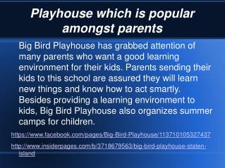 Big Bird Playhouse which is popular amongst parents