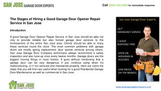 The Stages of Hiring a Good Garage Door Opener Repair Servic