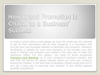 How Brand Promotion is Crucial to a Business' Success
