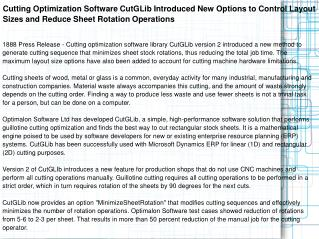 Cutting Optimization Software CutGLib Introduced New Options