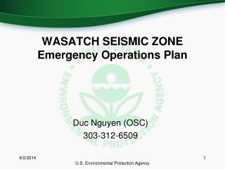 WASATCH SEISMIC ZONE Emergency Operations Plan