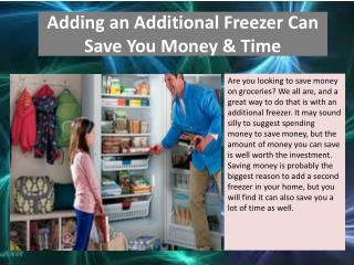 Adding an Additional Freezer Can Save You Money & Time
