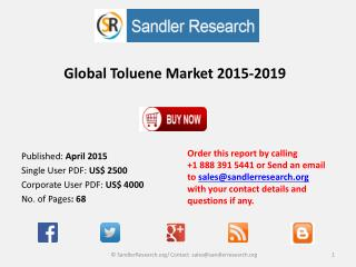Global Toluene Market 2015-2019