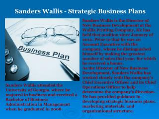 Sanders Wallis - Strategic Business Plans