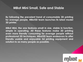 One Stop Solution for 3d Printer: Mbot3d.com