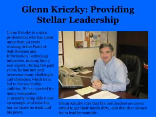 Glenn Kriczky Providing Stellar Leadership