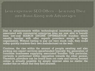 Less expensive SEO Offers -- Learning Their own