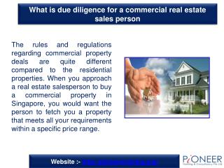 What is due diligence for a commercial real estate sales per