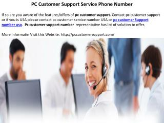 PC Customer Support Service Phone Number